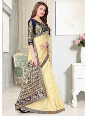 Picture of 002 Yellow Designer Silk Saree