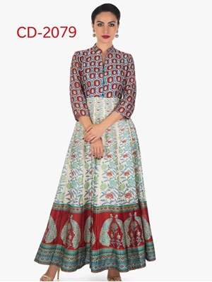 Picture of CD2079 Maroon And Blue Designer Maxi Dress