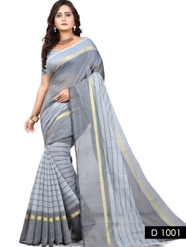 Picture of 1001 Gray Traditional Wear Cotton Silk Saree