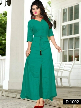 Picture of 1002 Sea Green Designer Long Stitched Kurti
