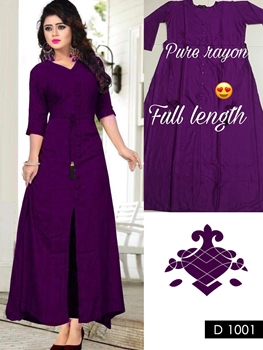 Picture of 1001 Purple Designer Long Stitched Kurti