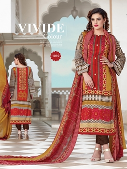 Picture of 1010Multcolor and Brown Party Wear Printed Pure Glace Satin Cotton Straight Suit