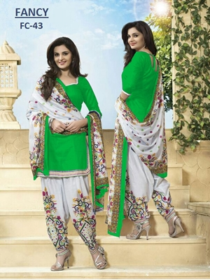 Picture of Green and OffWhite Daily Wear Plain Cambric Cotton Patiyala Suit