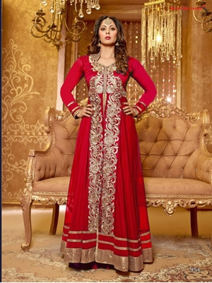 Picture of 954dRed and Golden Net Party Wear Designer Suit