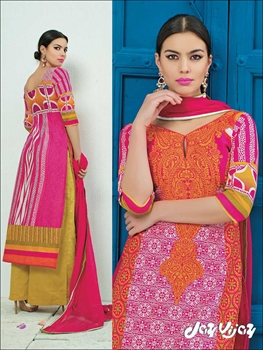 Picture of 1430Pink Orange and Yellow Party Wear Printed Cotton Satin Pakistani Suit