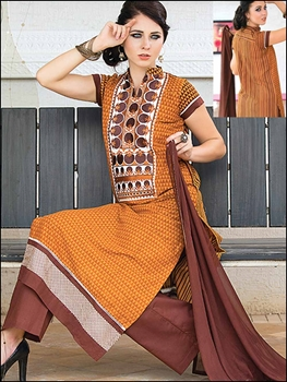 Picture of 926A TurmericYellow Brown and White Cotton Party Wear/Daily Wear Straight Suit