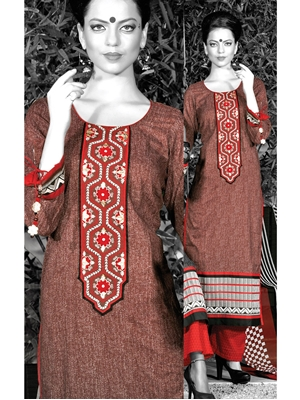 Picture of 0947B Brown and Red Cotton Palazzo Suit