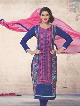 Picture of 2939Purple and Pink Printed Cotton Daily Wear Straight Suit