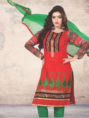 Picture of 2726Red and Green Printed Cotton Daily Wear Straight Suit