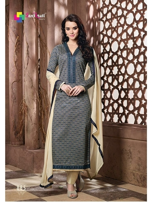 Picture of 885DarkBlue and Beige Pure Cotton Satin Daily Wear Straight Suit