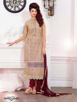 Picture of 7772 Beige and Maroon Georgette Party Wear Straight Suit