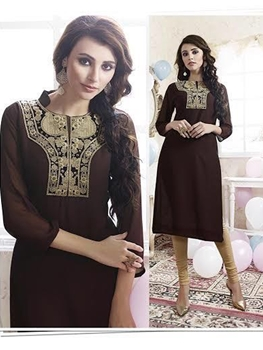 Picture of 310CoffeeBrown Party Wear Embroidered Georgette Stitched Kurti