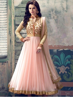 Picture of Peach and Beige Party Wear Embroidered Georgette Replica Anarkali Suit