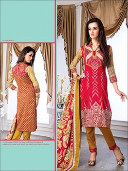 Picture of 15Red and Brown Party Wear Printed Glace Cotton Straight Suit
