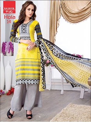Picture of 10Yellow and Gray Party Wear Printed Glace Cotton Straight Suit