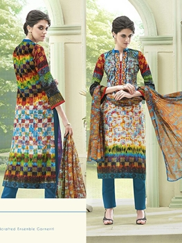 Picture of 313Multicolor and DarkSkyBlue Printed Glace Cotton with Embroidery Party Wear Straight Suit