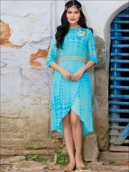 Picture of 59003SkyBlue and Golden Pure Georgette Party Wear Kurti