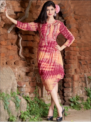 Picture of 59002DarkPink and LightOrange Pure Georgette Party Wear Kurti