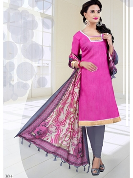 Picture of 3014Pink and Gray Bhagalpuri Daily Wear Chudidar Suit