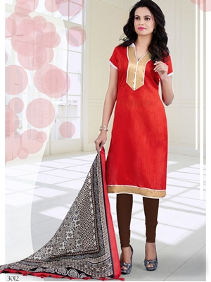 Picture of 3012TomatoRed and Brown Bhagalpuri Daily Wear Chudidar Suit