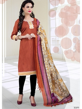 Picture of 3009Orange Brown and Black Bhagalpuri Daily Wear Chudidar Suit