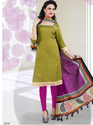 Picture of 3008MehandiGreen and Pink Bhagalpuri Daily Wear Chudidar Suit