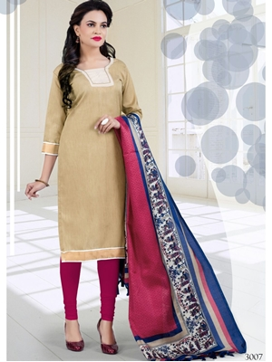 Picture of 3007Beige and Pink Bhagalpuri Daily Wear Chudidar Suit