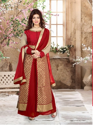 Picture of 11202Red and Golden Pure Silk Party Wear Plazzo Suit