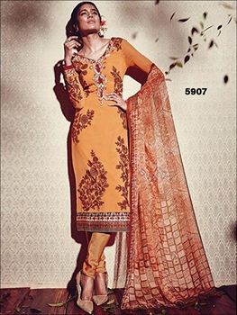 Picture of 5907DullOrange and CornellRed Pure Georgette Party Wear Designer Suit