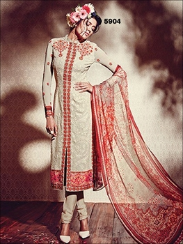 Picture of 5904Cream and CornellRed Pure Georgette Party Wear Designer Suit