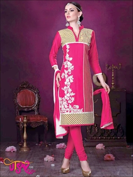 Picture of 108DeepPink Daily Wear Embroidered Satin Cotton Designer Suit