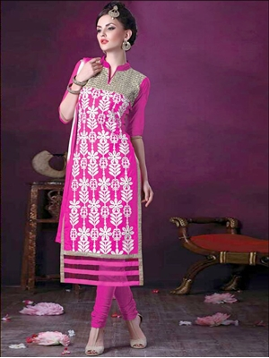 Picture of 106Magenta and White Daily Wear Embroidered Satin Cotton Designer Suit