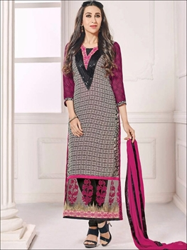 Picture of 30005Multicolor and DarkMagenta Party Wear Georgette Straight Suit