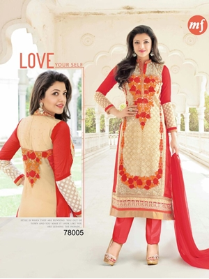 Picture of 78005Red and SandyBrown Party Wear Heavy Georgette Straight Suit