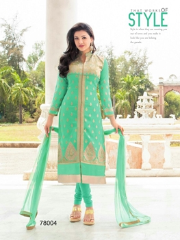 Picture of 78004Beige and AquaGreen Party Wear Heavy Georgette Straight Suit