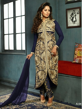 Picture of A04 DarkBlue Party Wear Faux Georgette Designer Suit