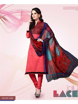 Picture of 1606LightRed and Black Party Wear Cotton Satin Jacquard Straight Suit