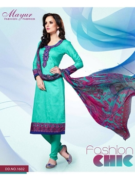 Picture of 1602SeaGreen and Multicolor Party Wear Cotton Satin Jacquard Straight Suit