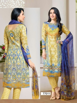 Picture of 77011RoyalBlue and Yellow Party Wear Cotton Satin Straight Suit