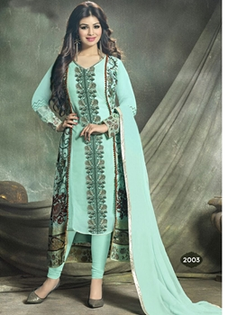 Picture of 2003AquaBlue and Multicolor Party Wear Foux Georgette Designer Suit