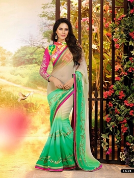 Picture of 74Multicolor and SeaGreen Wedding Wear Chiffon Saree