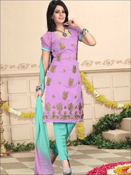 Picture of 1010Lavender and AquaBlue Daily Wear Chanderi Salwar Suit
