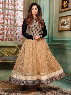Picture of 14014Black and SandyBrown Party Wear Silky Net and Georgette Designer Suit