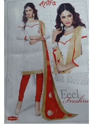 Picture of 1010White and Red Daily Wear Brasso Salwar Suit