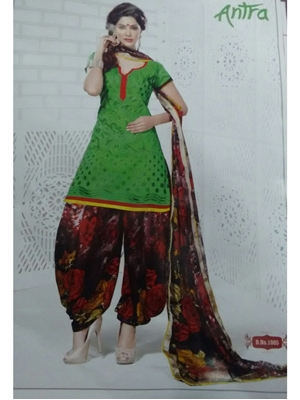 Picture of 1005Green and Multicolor Daily Wear Brasso Salwar Suit