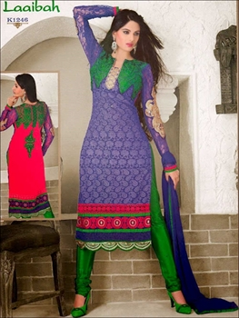Picture of K1246 Blue and Green Party Wear Georgette Chudidar Suit