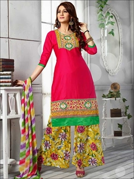 Picture of 1390BrightMagenta and Multicolor Daily Wear Cotton Plazzo Suit