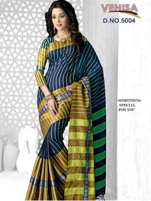 Picture of 5004MidnightBlue and Multicolor Daily Wear Cotton Silk Saree