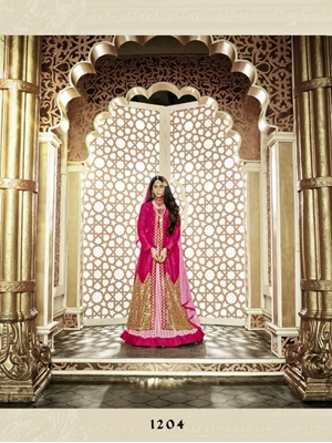 Picture of 1204 Pink and Golden Banglory Silk Designer Suit