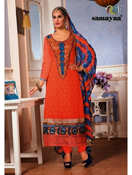 Picture of 3306BrightOrange Party Wear Georgette Straight Suit